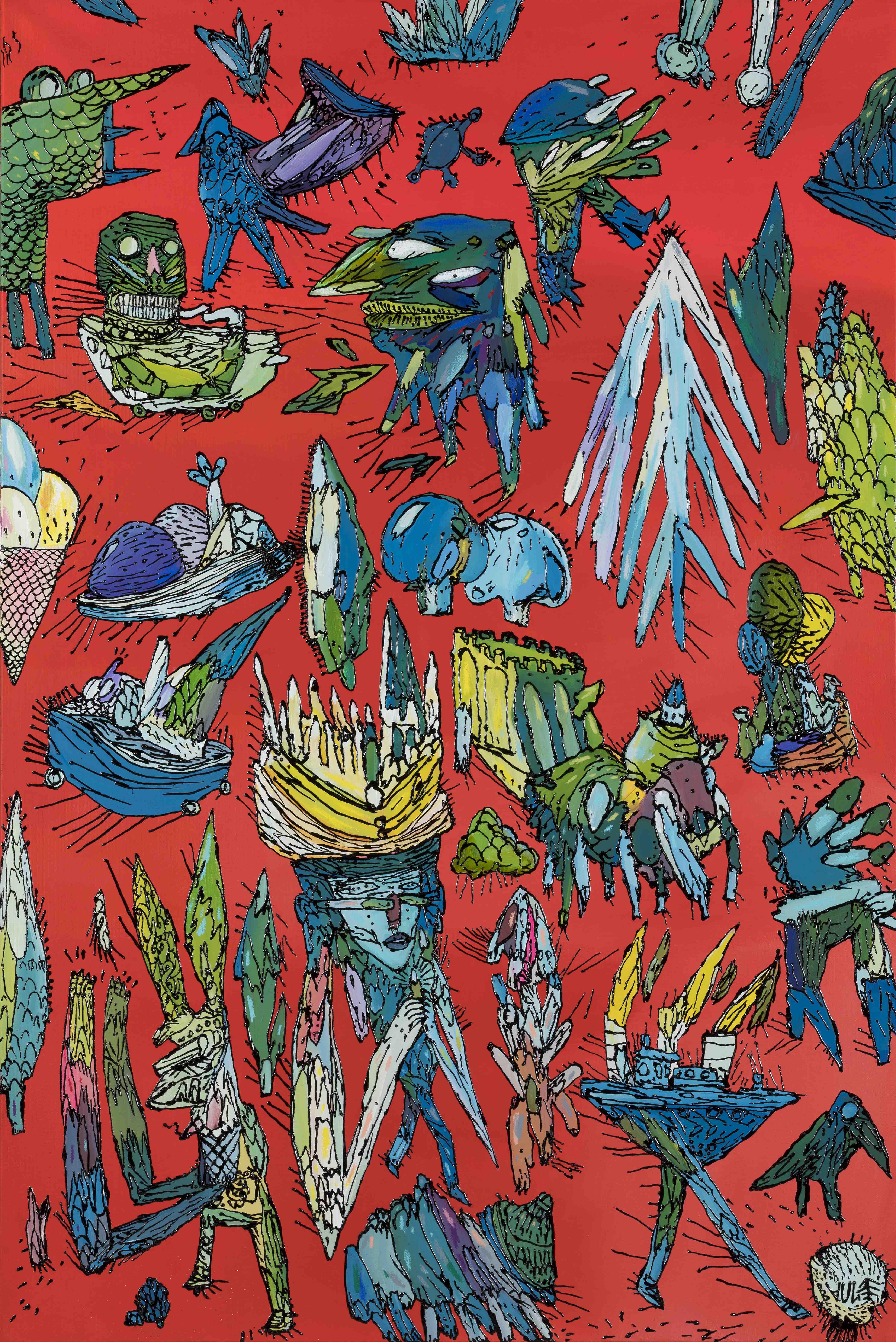 Jardin d'Acclimatation-Acrylique et techniques mixte sur toile de lin-100X150-2019 – copie